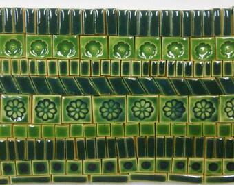170+ Handmade Mosaic Tile Pieces Ceramic Stoneware Dark Green Glazed Craft Tile Assortment #4