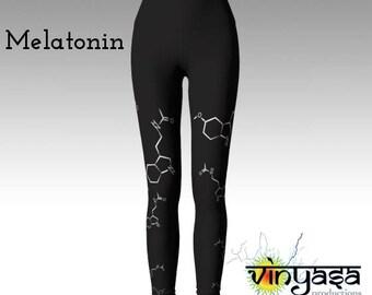Nerdy Chic, Sleep Medicine - Melatonin molecular chemistry yoga pants/leggings  - neurotransmitter- AOW: made to order -