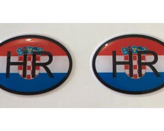 Croatia HR Domed Gel Stickers (2x) for Laptop Tablet Book Fridge Guitar Motorcycle Helmet ToolBox Door PC Smartphone