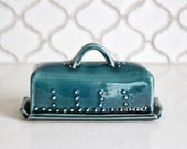 Butter Dish with Lid - Covered with Handle - Deep Sea Blue - READY TO SHIP