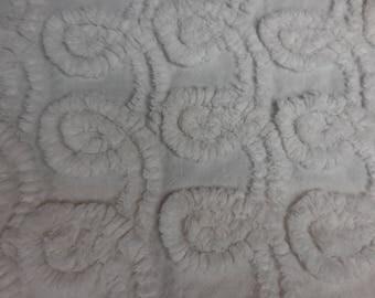 "WHITE on White Plush CURLIQUES Vintage Chenille Bedspread Fabric - 18"" X 28"" - #1"