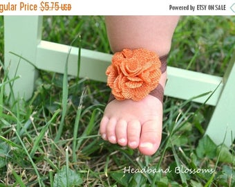SALE Adorable ORANGE BURLAP Barefoot Sandals - Baby Shoes - Frayed Chiffon Flower Sandal - Newborn Baby Photo Prop Autumn - Brown Thanksgivi