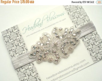 SALE Stunning Rhinestone and Bead Embellished Elastic Headband - Bridal Wedding Accessory - Photo Prop - Silver Gray - Flower Girl