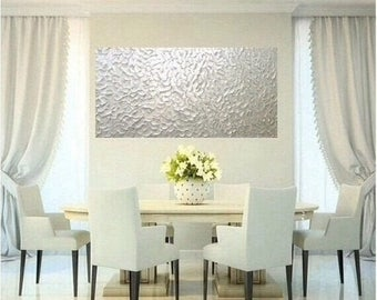 "SALE XLarge White Pearl Oil Landscape Abstract Original 48"" palette knife oil  impasto oil painting by Nicolette Vaughan Horner"