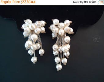 Now On Sale Vintage White Clip On Earrings Retro Collectible Costume Jewelry