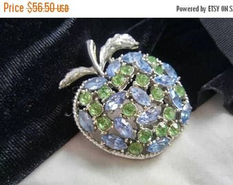 Now On Sale Coro Blue & Green Rhinestone Brooch Big Bold Classy Vintage 1950's Designer Signed Old Hollywood Glam Jewelry