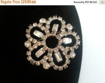 Now On Sale Retro Rhinestone Pin, Vintage Brooch, Mid Century Collectible, 1950's 1960's Art Deco Jewelry