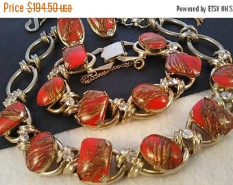 On Sale 1950's High End Red Glass & Rhinestone Vintage Statement Necklace Bracelet Earring Set, Juliana Style Old Hollywood Glamour Jewelry