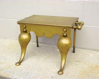 British Brass Footman Antique BRASS Fireplace Fire Stool - Hearth Stand - Fireside Trivet - Water Food Plate Warmer - Coach Step