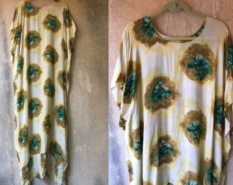 Long Bohemian Maxi Hippie Splatter Print Uneven Hem Hi Lo Summer Festival Dress