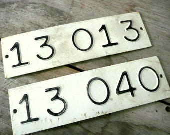 2 Vintage Metal Number Signs
