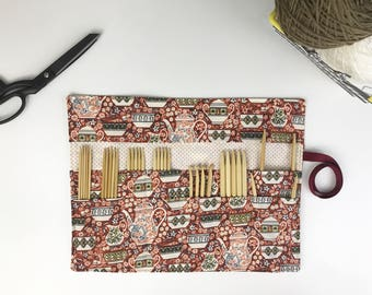 DPN Holder, Craft Storage, Knitting Needle Organizer, Pencil Roll, Crochet Hook Case, Knitting Case, Teacup Cotton, Tea Cups in Red