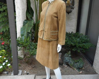 Vintage Tyrolean Style Camel Colored Suede Suit - Size 4