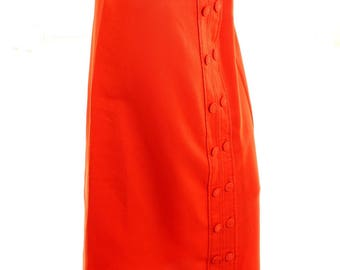 Vintage 80s Orange Button Maxi Skirt UK 14 US 12