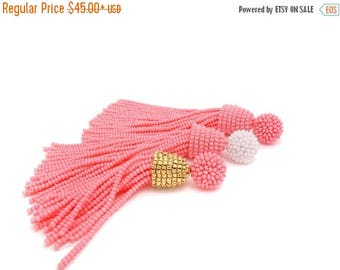 ON SALE light sweet PINK tassel Earrings for bridesmaid with Clip ons or sterling Silver stud/Choose your length / Oscar de la Renta style