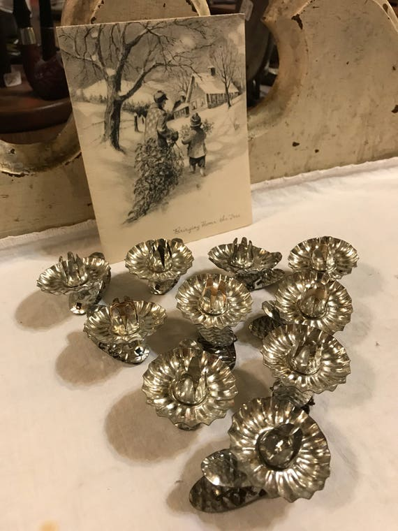 Set of 10 vintage Christmas Tree Candle Clips Silver
