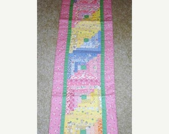 20 % off thru 7/4 Log Cabin Aunt Grace 30s reproduction fabrics scrappy quilted table runner-9 by 33 inches