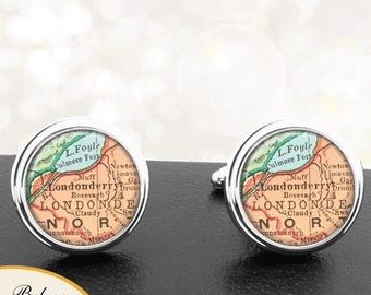 Map Cufflinks Londonberry Ireland Handmade Cuff Links Irish City Maps Groomsmen Weddings Fathers Dads