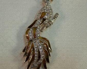 1980's Enameled Pheasant Brooch with Crystal Rhinestones