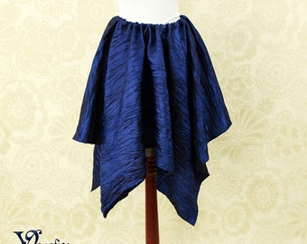 "Steampunk Fairy Dark Blue Crinkled Taffeta Pointed Petal Skirt -- 4 Points, 31"" Point Length -- Fits up to 40"" Waist, Ready to Ship!"
