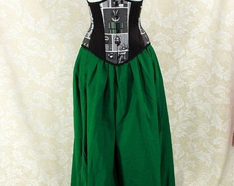 "HALF OFF Renaissance Wench Basic Skirt -- Kelly Green Cotton -- Fits up to 40"" Waist, 39"" Length -- Ready to Ship"
