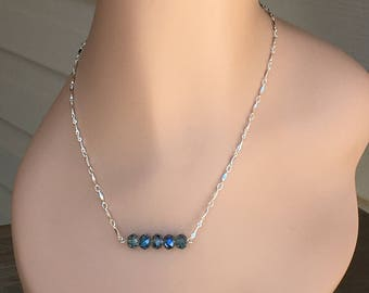 Silver And Blue Crystal,  Bar Necklace