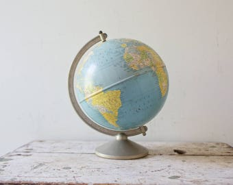 Vintage Globe - Metal World Globe Vintage Globe World Map 1960s Pastel Colors Tin Globe Earth Toy