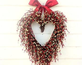 Valentine Wreath-Wedding Decor-Wedding Heart Wreath-Mothers Day Gift-Red Heart Wreath-Weddings-Gift for Mom-Say I LOVE YOU-Wedding Gift