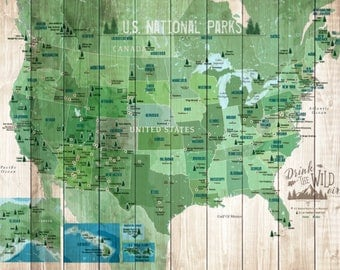 Us National Park Map Etsy - National park map us