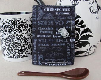 Quilted Tea Wallet Tea Theme Chalkboard Fabric, White and Black Polka Dots Tea leaf Accent Stitch - Tea Infuser Button -Tea Bag/Card Holder