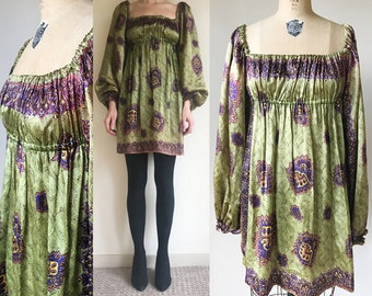 Vintage 60s 70s Green Empire Waist MINI boho Festival Dress XS S