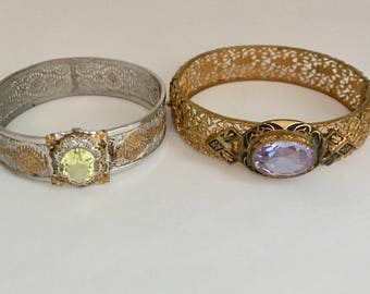 Edwardian Art Deco Filigree Bracelet Lot of 2 TLC Repair Glass Stones