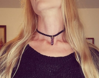 Sale: Amethyst Silver Top Charm Braided Black Suede Leather Choker With Chain Accent & Pewter Feather