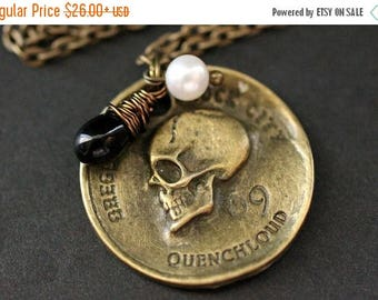 BACK to SCHOOL SALE Pirate's Coin Necklace. Goth Necklace. Bronze Skull Necklace with Black Teardrop and Fresh Water Pearl. Halloween Jewelr