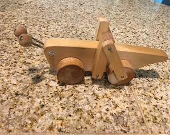wood cricket grasshopper toy vintage made in finland