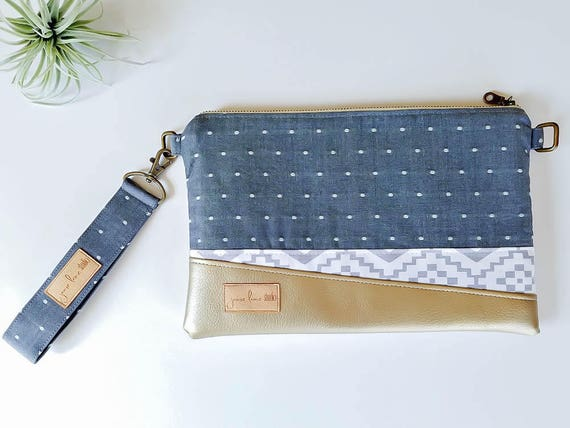 """Chambray Clutch with Wrist Strap 