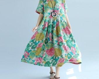 green long sundress Loose round collar short sleeve big dress