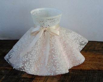 Vintage Molded Plastic Ruffled Bedroom Lamp Shade Pink with White