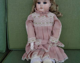 """antique Bisque head doll 19"""" Armand Marseille 370 Shoulder head dolly face Germany"""