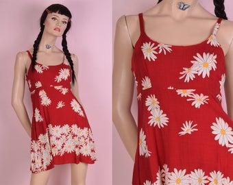 90s Daisy Print Mini Dress/ Small/ 1990s/ Tank/ Sleeveless