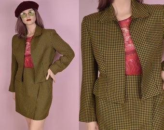 90s Green and Brown Gingham Suit/ US 10/ 1990s/ Jacket/ Skirt