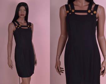 90s Black Cage Dress/ US 10/ 1990s