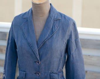 90's Blue Jacket - Button-up long sleeve blue jacket