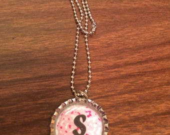 "Bottle Cap Necklace - pink camo with enitial ""S"""