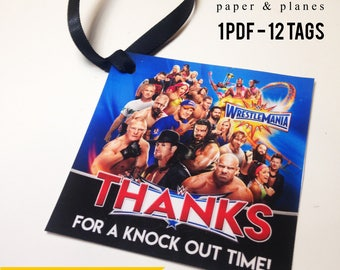 WWE Wrestling Thank You Gift Tags - INSTANT DOWNLOAD, Party Favor Tags, Loot Bag Tags