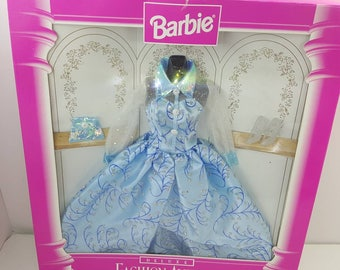 Barbie 1996 Fashion Avenue Deluxe Blue Dress  Sealed in Box  Sheer sleeves silver accents