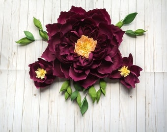 Set of 3 Crepe Paper Flowers Ombre Peony and Magnolias with Greenery