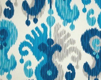 """Two  96"""" x 50""""  Custom Curtain Panels  -  Indoor/Outdoor -  Latge Ikat  Sea glass- Blue Taupe"""