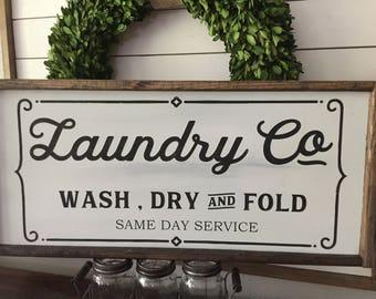 Laundry Room Sign - Laundry Room Decor - Farmhouse Laundry Sign - Farmhouse Laundry Room Decor - Laundry Co  - Wash Dry and Fold