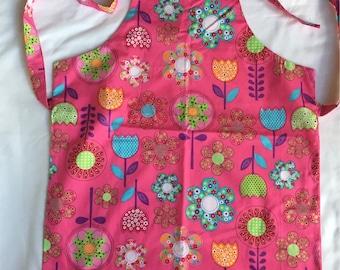 Handmade pink flowers kids apron